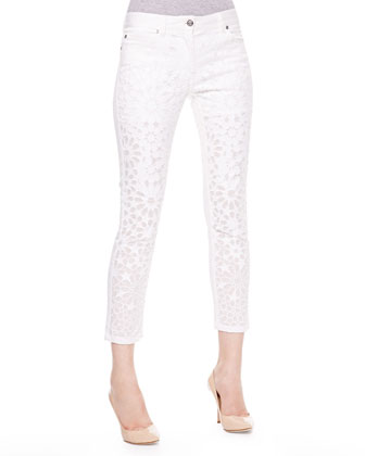 Lace-Front Skinny Jeans, White