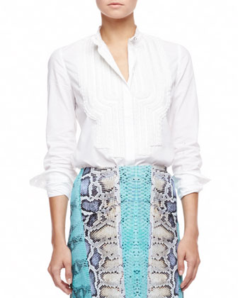 Embroidered Bib Poplin Blouse, White
