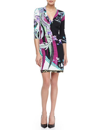 Scilla-Print Twist-Front Jersey Dress