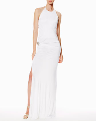 Side-Zip Blouson Halter Gown