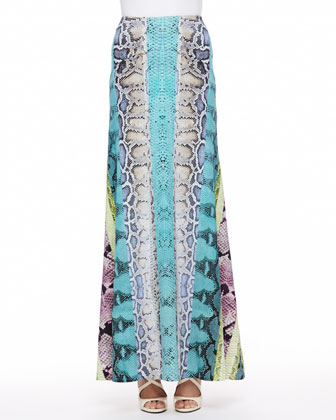 Embroidered Bib Poplin Blouse & Paneled Snakeskin-Print Maxi Skirt