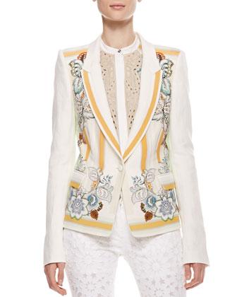 Printed Linen Blazer, Cream/Orange