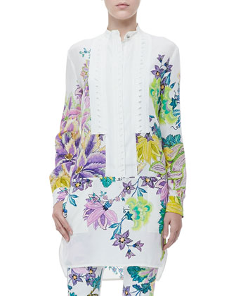 Button-Front Drop-Waist Floral-Print Tunic