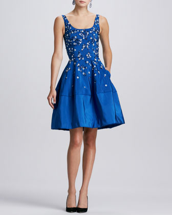 Floral-Embellished Dress, Indigo
