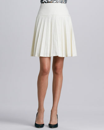 Pleated Stretch-Wool A-Line Skirt