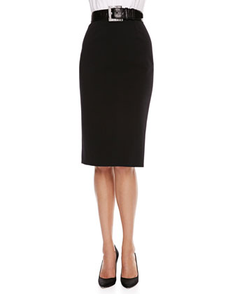 Short-Sleeve Passementerie Peplum Top & High-Waist Pencil Skirt