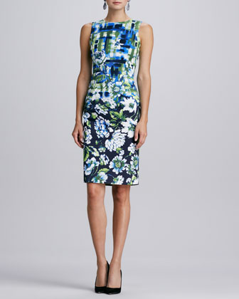 Sleeveless Mixed Floral-Print Dress