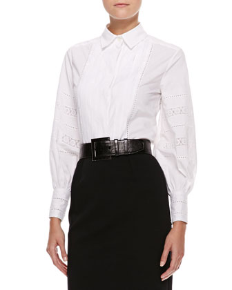 Pleated-Bib Blouse, White