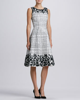 Floral-Applique Cocktail Dress