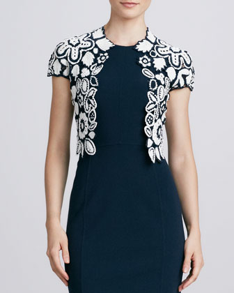 Hand-Crocheted Floral Jacket & Sleeveless Knit Sheath Dress