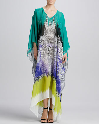 Printed Silk Caftan, Teal/Multi