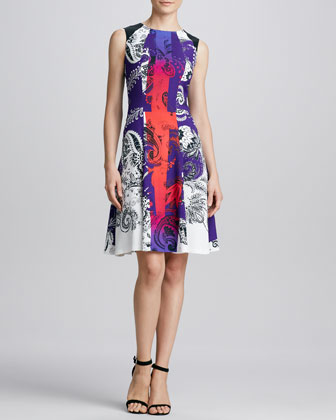Printed Colorblock Full-Skirt Dress, Purple/Multi