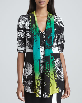 Shawl-Detailed Tunic, Black/White/Green