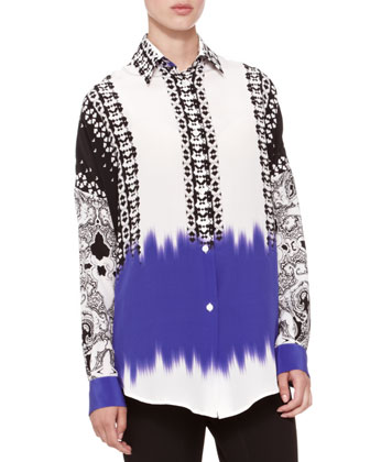 Mix-Print Oversized Blouse