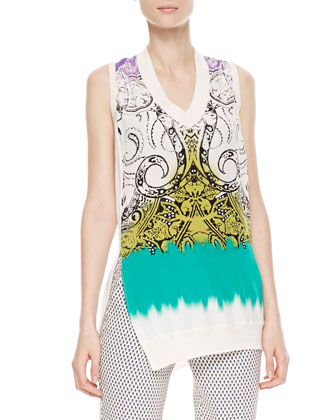 Printed Silk-Front Top, White/Green