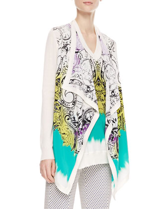 Printed Cascade Cardigan, Silk-Front Top & Cravat-Print Cropped Pants