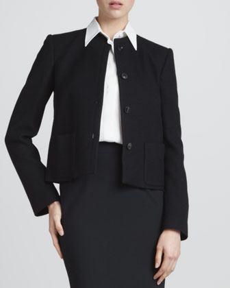 Tortoise-Button Jacket, Silk Button-Down Blouse & Straight Wool Skirt