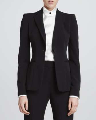 One-Button Slip-Pocket Jacket, Contrast-Button Silk Tuxedo Blouse & ...