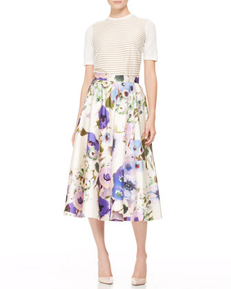 Short-Sleeve Stripe-Front Top and Full Floral Midi skirt