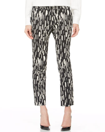 Asymmetric Peaked-Peplum Blouse and Caroline Printed Ankle Pants