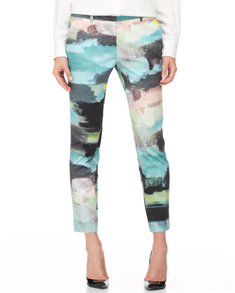 Caroline Printed Ankle Pants, Multi