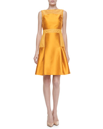 Lace-Trimmed Satin Dress, Marigold