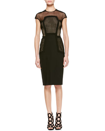 Placed-Lace Sheath Dress