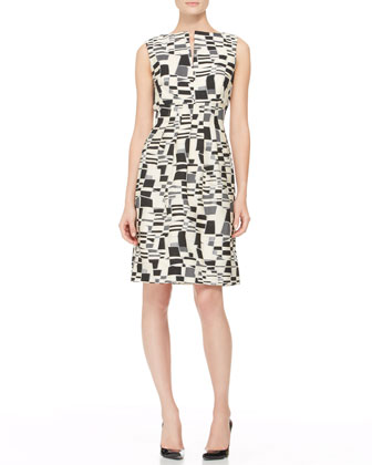 Split-Front Jacquard Sheath Dress