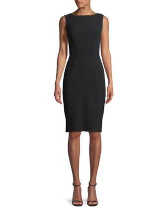 Sleeveless Boat-Neck Sheath Dress, Black