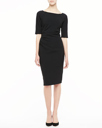 3/4-Sleeve Ruched Dress, Black