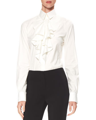 Ruffled Poplin Blouse, Off White
