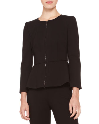 Zip-Front Peplum Jacket, Black