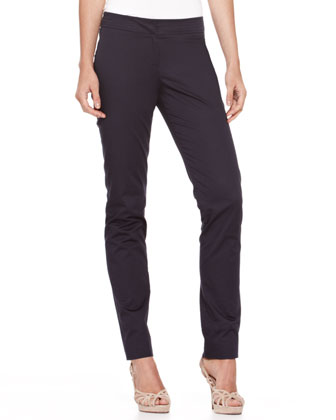 Straight-Leg Stretch Cotton Pants