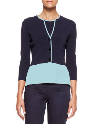 Colorblock 3-Button Jacket, Round-Neck Tank & Straight-Leg Stretch Cotton Pants