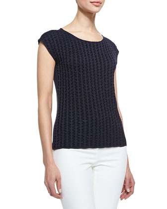 Sleeveless Round-Neck Textured Knit Top, Navy