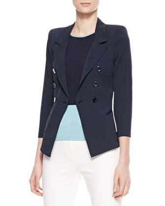 Double-Breasted Stretch Silk Jacket, Navy