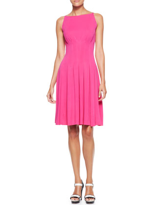 Pleated Jersey Bateau Dress
