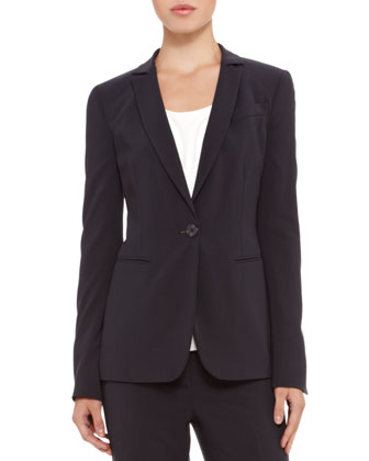 Single-Button Stretch-Wool Blazer