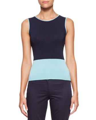 Colorblock Round-Neck Tank, Blue