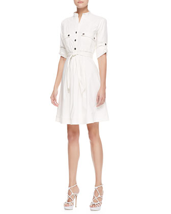 Belted Shirtdress, Off White