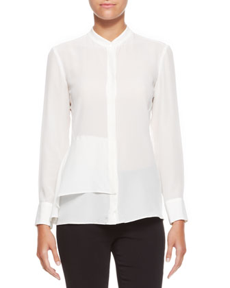 Long-Sleeve Blouse with Side Pleat, Off White