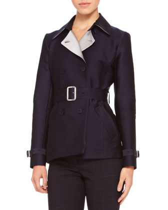 Double-Breasted Belted Coat, Midnight