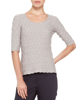 Puckered Elbow-Sleeve Top