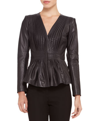 Ruched Flare-Hem Leather Jacket