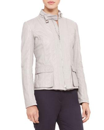 Leather/Canvas Zip Jacket