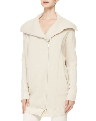 Cashmere Oversized Zip Coat and Cowl-Neck Top