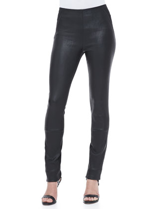 Leather-Front Skinny Pants