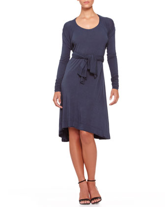 Tie-Front Trapeze Dress