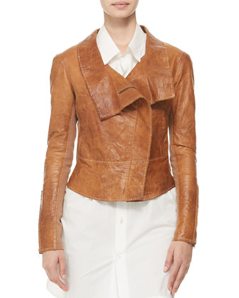 Topstitched Leather Jacket