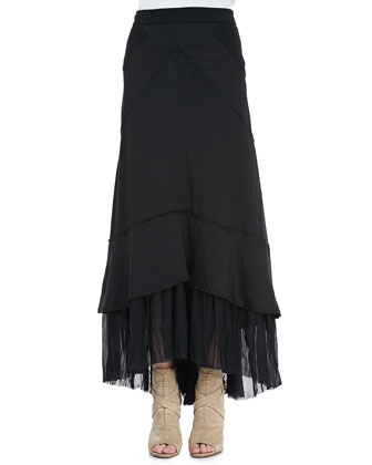 Flared Pleat-Hem Maxi Skirt